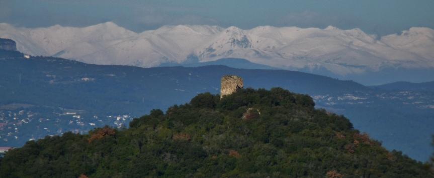 Castell amb Pirineus al fons