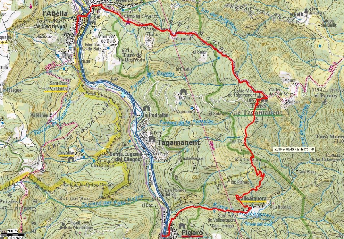 20. Del Figaró a Sant Martí Centelles (Aiguafreda) per Vallcàrquera i el Tagamanent (100 Cims) 12,2km