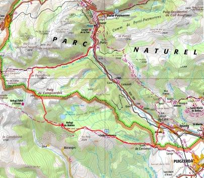 Mapa ruta Puigpedrós