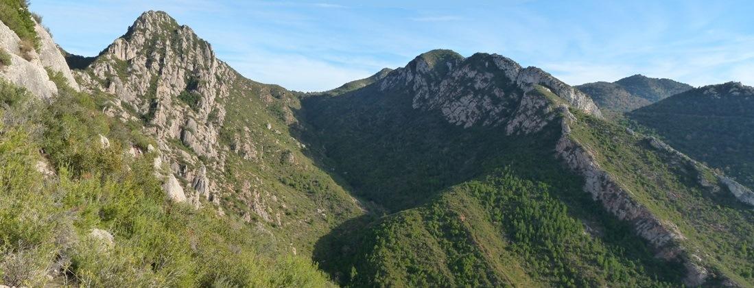 Vistes de les Espases cap al Puig Cendrós (esq.)