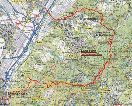 Mapa ruta Montcada a Mollet