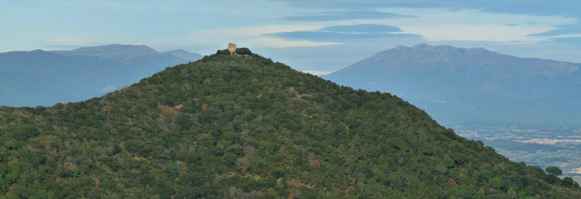 Castell de Sant Miquel (Montornès) amb el Montseny al fons