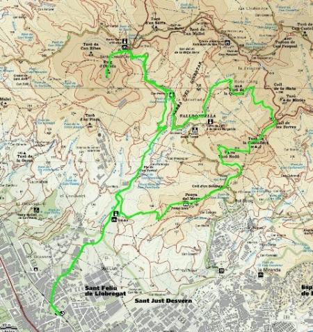 Mapa ruta PR-165 Sant Feliu i el Bosc Gran