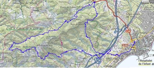 Mapa de la ruta al Molló Puntaire des de l'Hospitalet de l'Infant