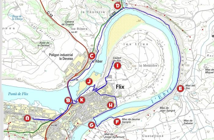 Mapa99 Meandre Flix_punts