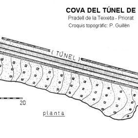 Plànol Cova del Túnel. Font Speleoindex.com