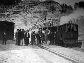 Tren inaugural del cremallera de Motnserrat